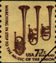images of U.S. stamps depicting musical instruments